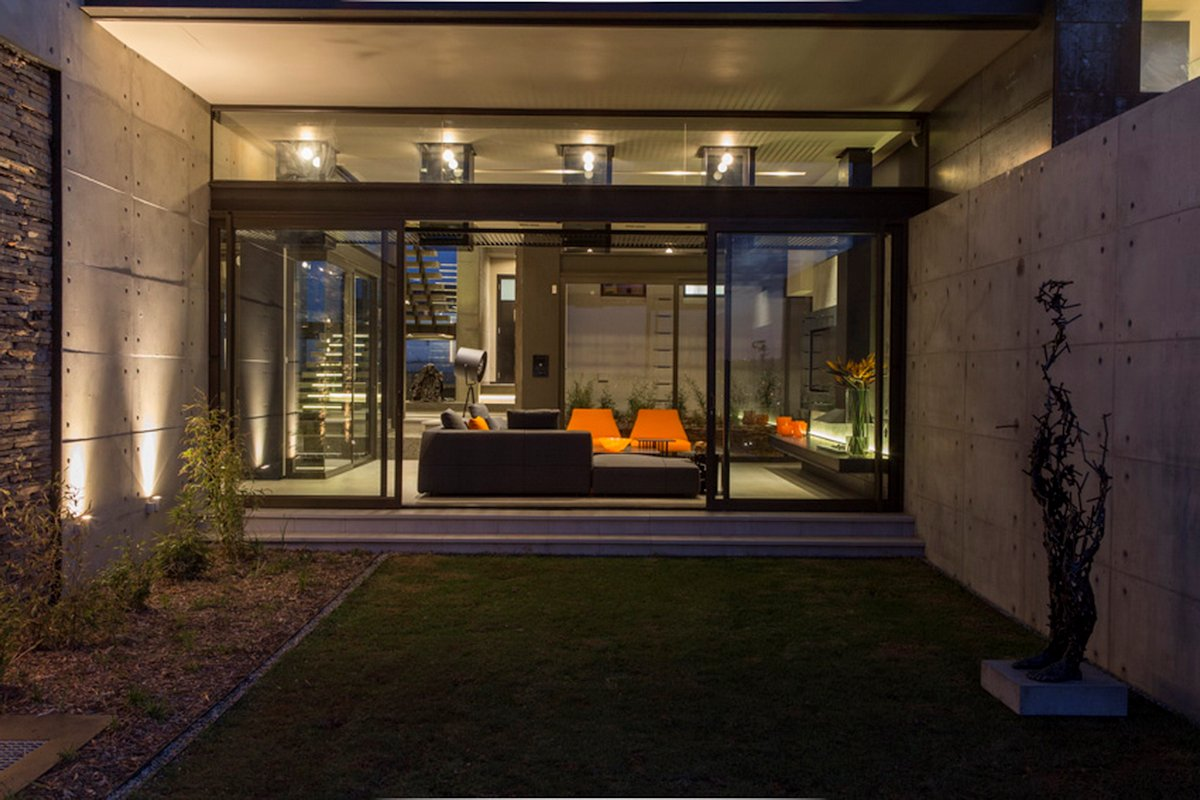 Glass Sliding Doors, Garden, Exposed Concrete Wall, Luxurious Modern Residence in Pretoria, South Africa