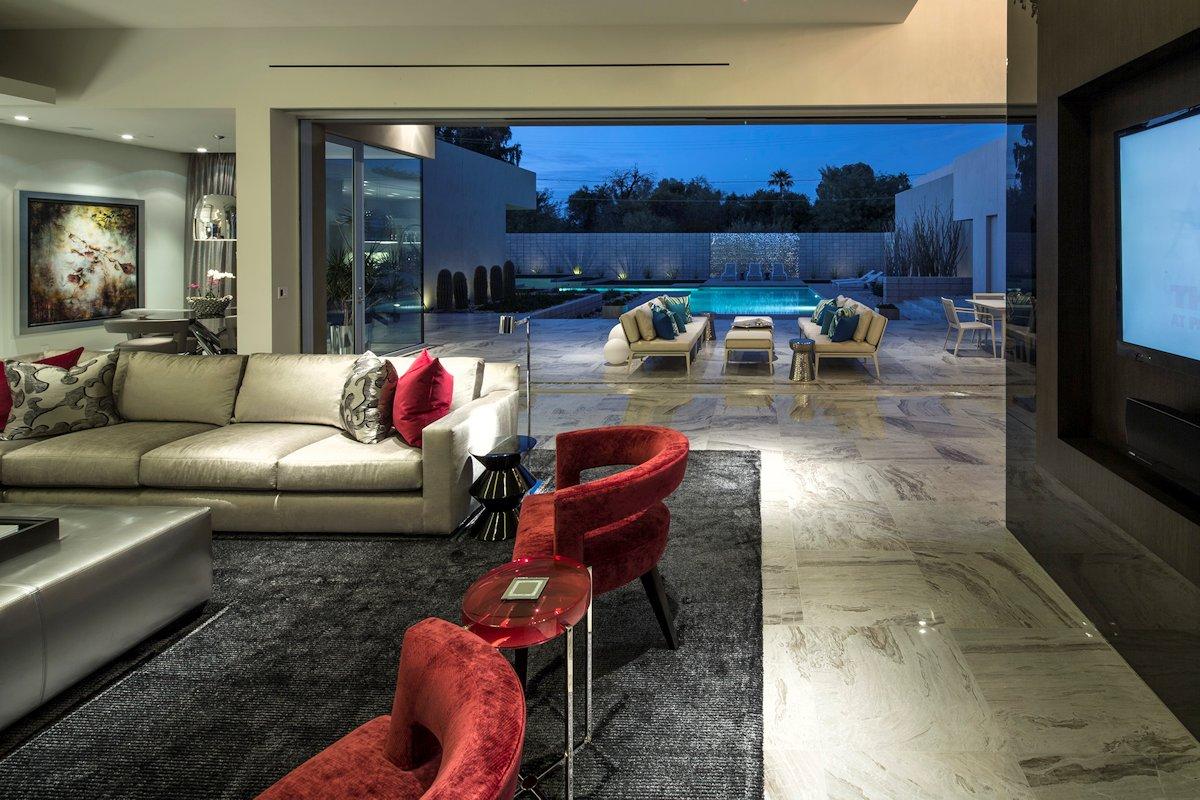 Grey Rug, Sofa, Chairs, Living Space, Mid-Century Modern Home in Scottsdale, Arizona