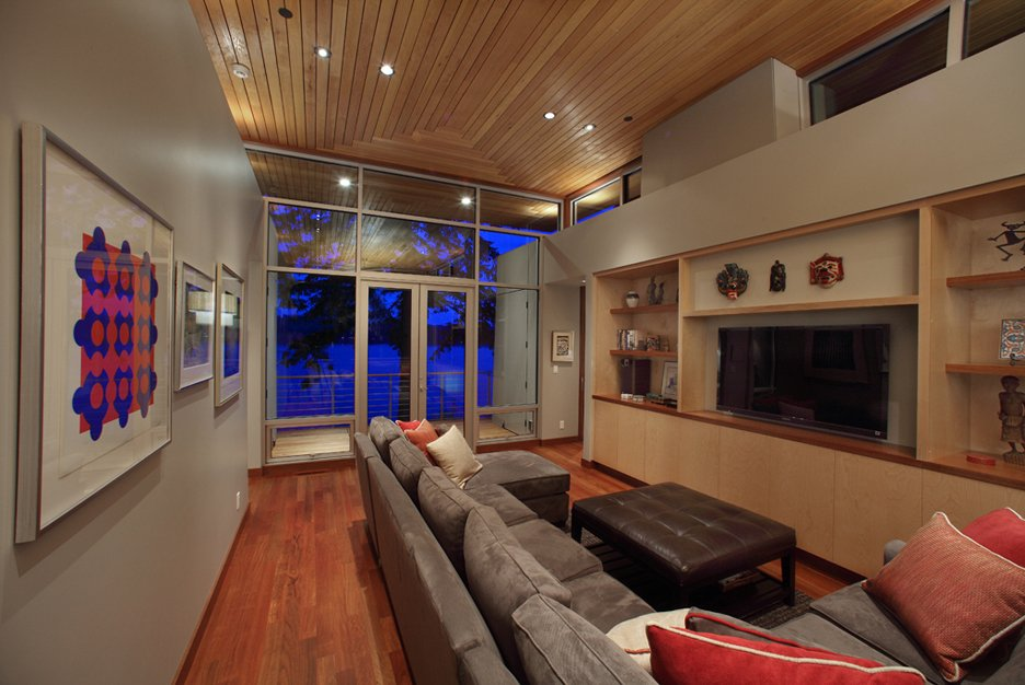 Grey Sofa, Wood Flooring, Living Room, Olympic View House on Bainbridge Island
