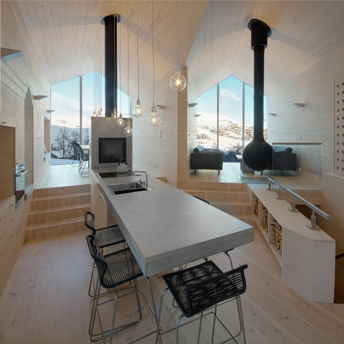 Kitchen, Breakfast Bar, Lighting, Living Space, Holiday Lodge in Havsdalen, Norway