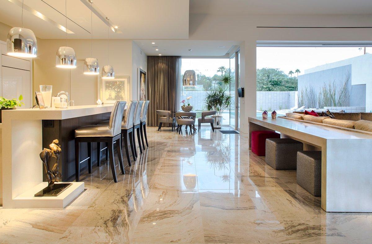 Kitchen, Breakfast Bar, Modern Lighting, Mid-Century Modern Home in Scottsdale, Arizona