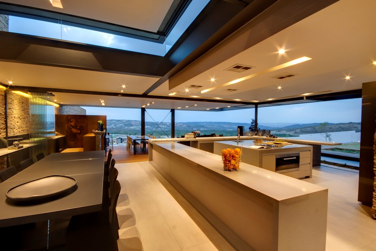 Kitchen Island, Dining Table, Glass Walls, Views, Luxurious Modern Residence in Pretoria, South Africa