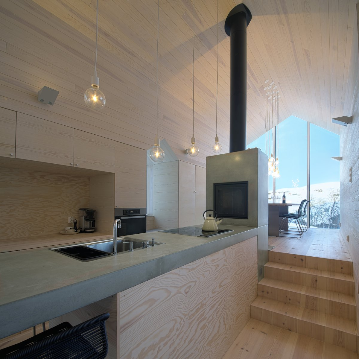 Kitchen, Lighting, Open Plan Living, Holiday Lodge in Havsdalen, Norway