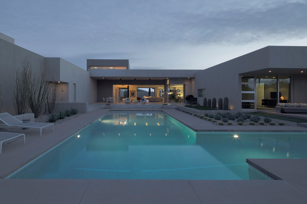 Large Outdoor Pool, Lighting, Terraces, Mid-Century Modern Home in Scottsdale, Arizona
