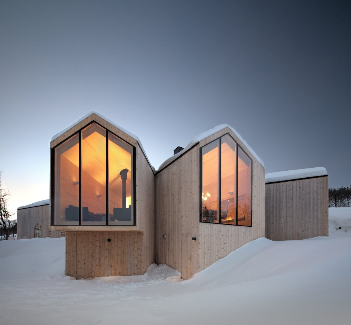Large Windows, Lighting, Wood Cladding, Family Holiday Lodge in Havsdalen, Norway