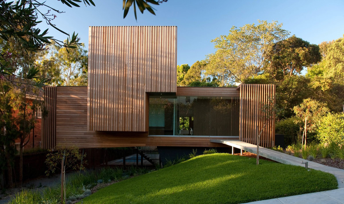 Lawn, Wood Bridge, Cladding, Kew House in Melbourne