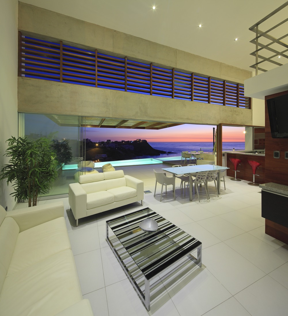 Living Space, Coffee Table, White Sofas, Dining Table, Stunning Home situated above Palillos Beach, Peru