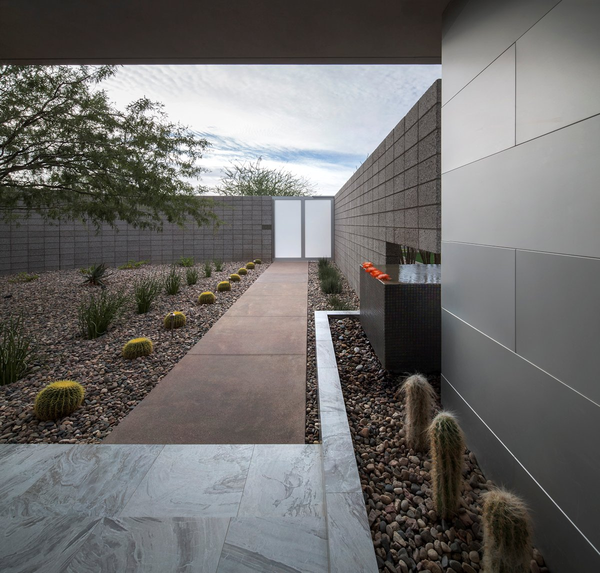 Marble Tiles, Pathway, Mid-Century Modern Home in Scottsdale, Arizona