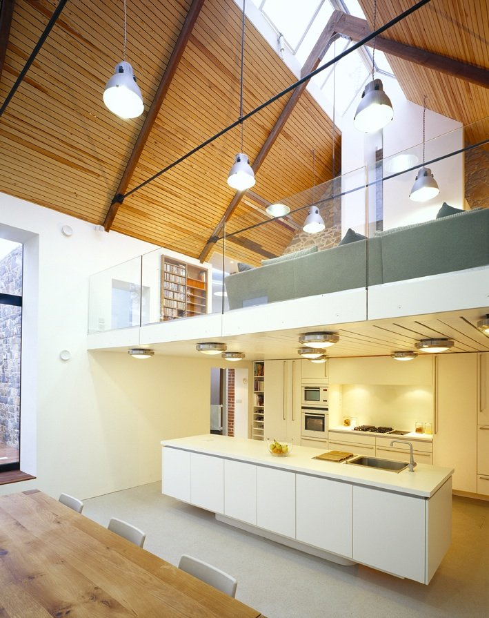Mezzanine, Glass Balustrading, Kitchen Island, Barn Conversion on the Island of Guernsey