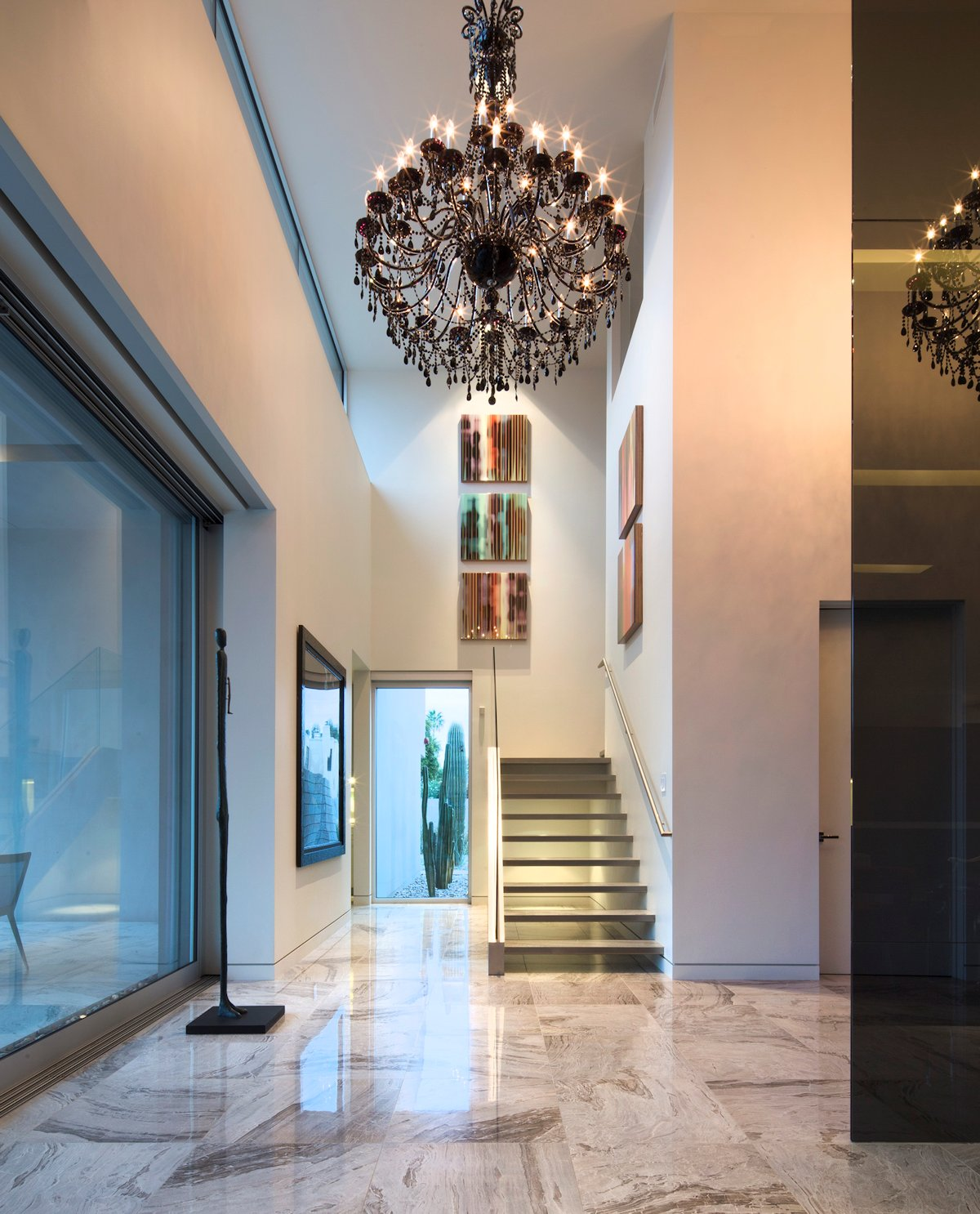 Modern Stairs, Hallway, Dark Chandelier, Mid-Century Modern Home in Scottsdale, Arizona