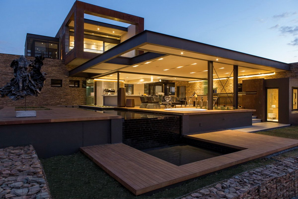 Luxurious modern residence in pretoria south africa for Terrace lighting