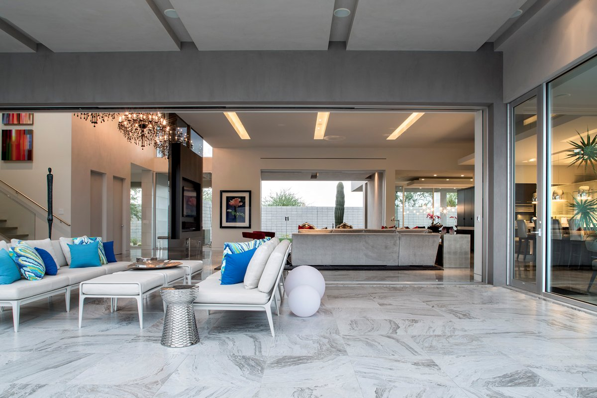 Patio, Marble Tiles, Glass Sliding Doors, Mid-Century Modern Home in Scottsdale, Arizona