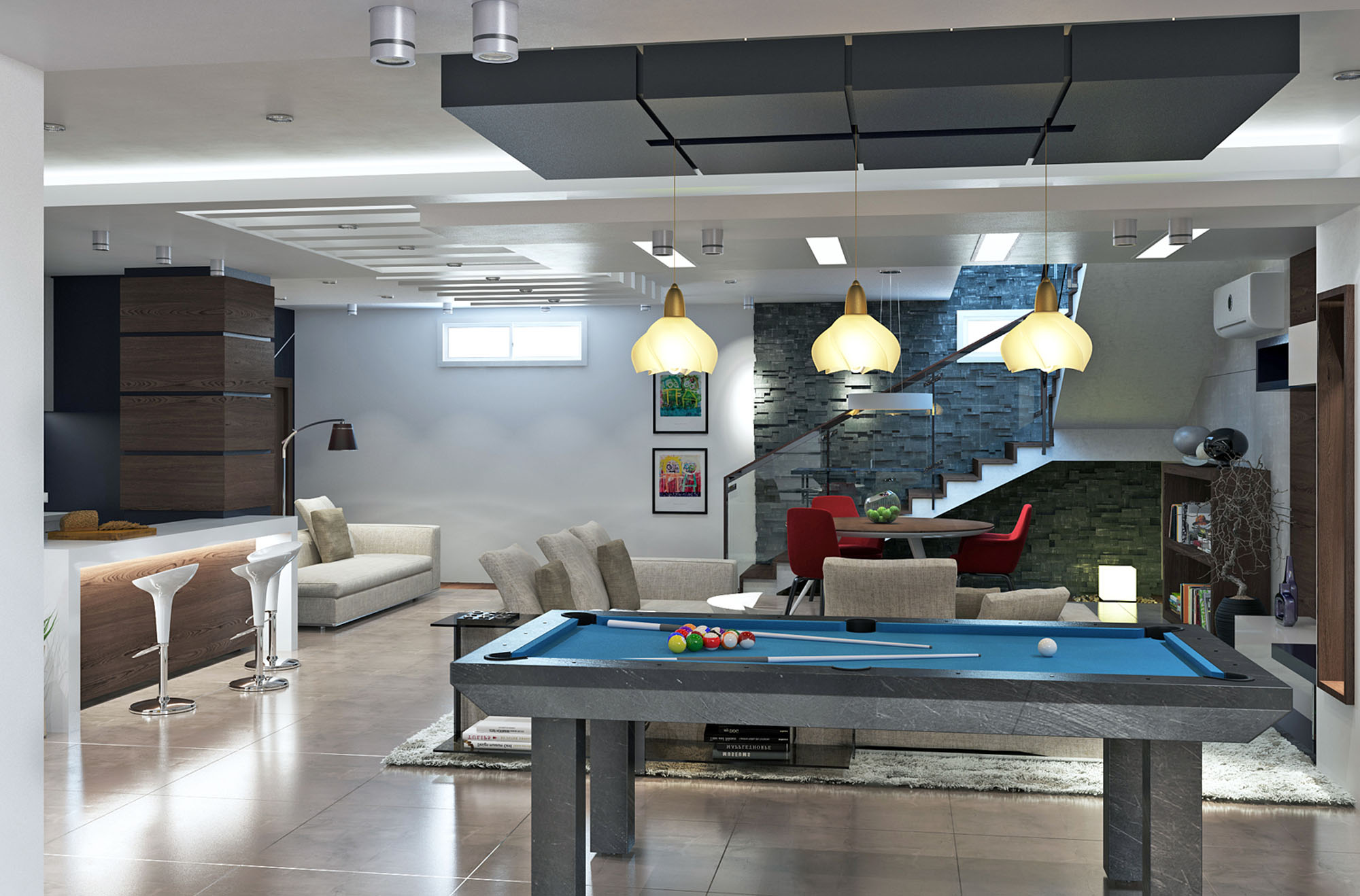 Pool Table, Living Space, Revamped Interior in Beverly Hills