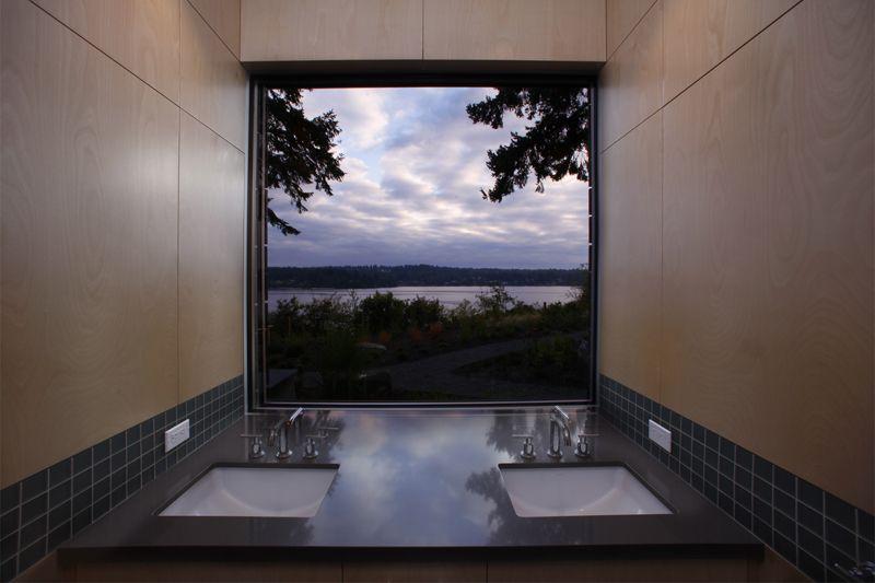 Sinks, Bathroom, Water Views, Olympic View House on Bainbridge Island