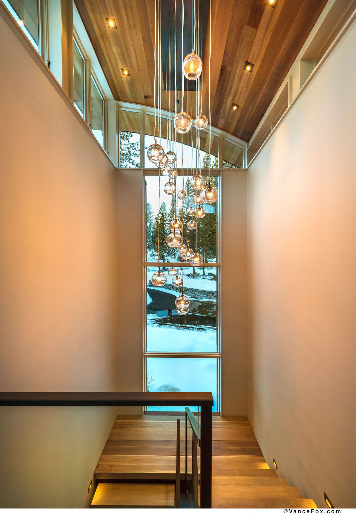 Stairs, Pendant Lighting, Home near Lake Tahoe, California