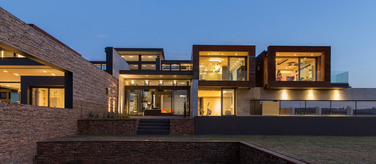 Terrace, Garden, Luxurious Modern Residence in Pretoria, South Africa