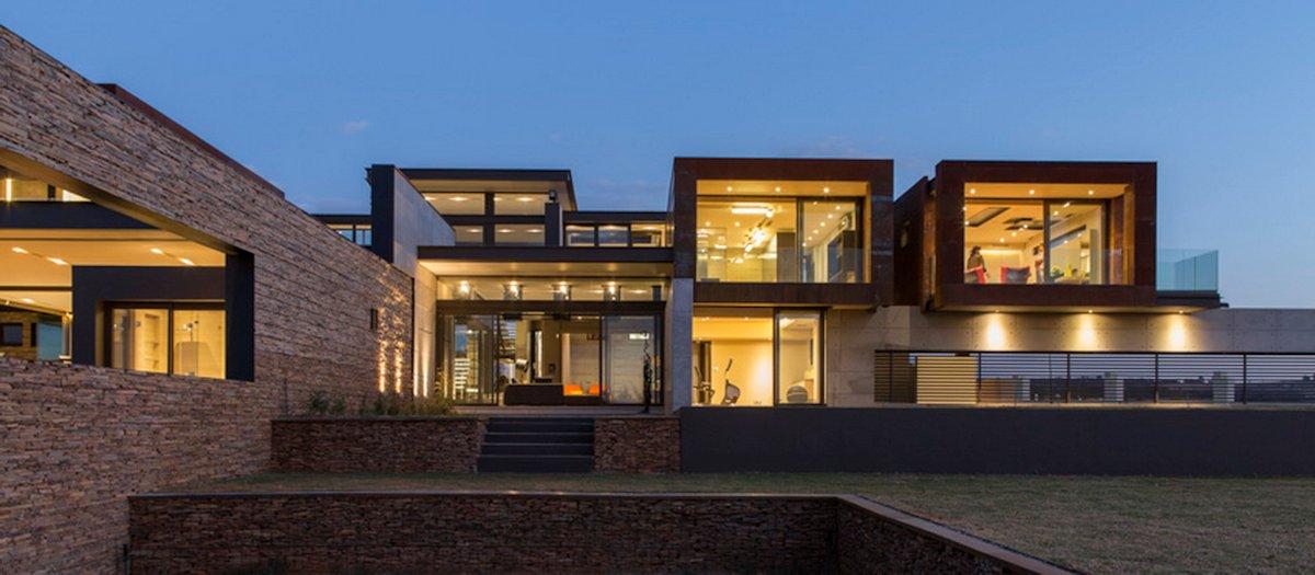 Terrace, Garden, Luxurious Modern Residence in Pretoria, South Africa