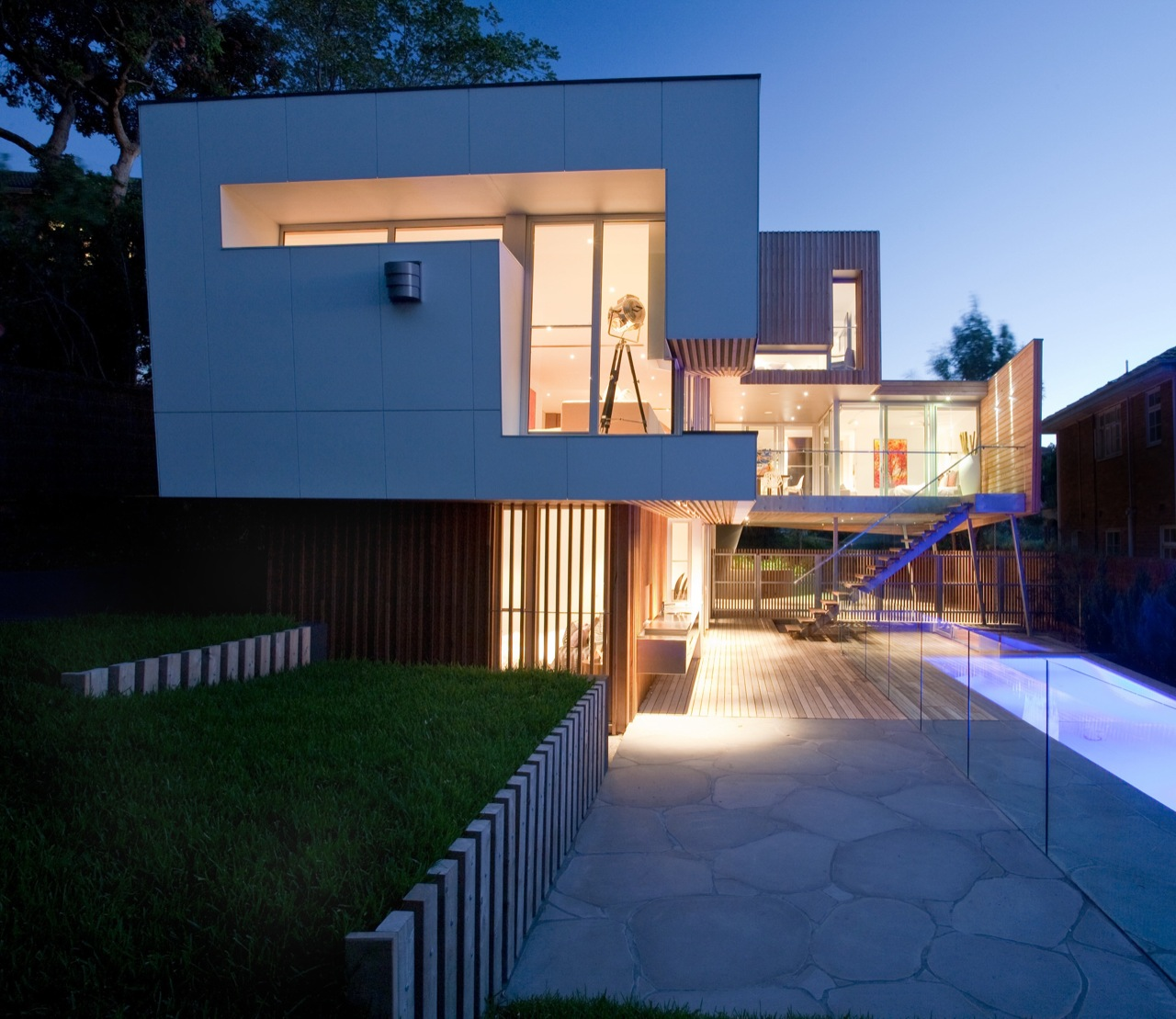 Terrace, Glass Balustrading, Pool Lighting, Kew House in Melbourne