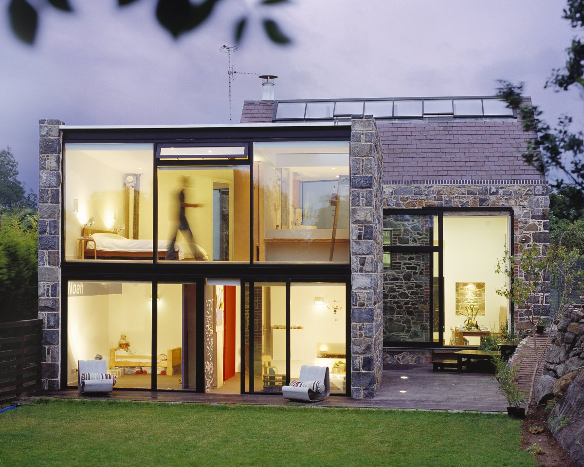 Terrace, Glass Walls, Barn Conversion on the Island of Guernsey