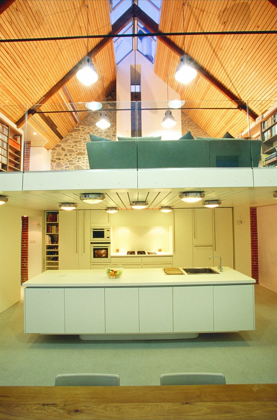 Vaulted Ceiling, White Kitchen, Barn Conversion on the Island of Guernsey
