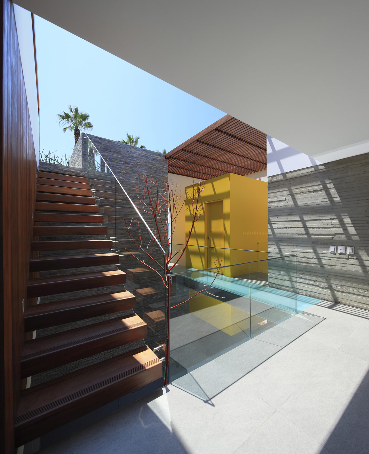 Wood Stairs, Glass Balustrading, Luxury Modern Home in Lima, Peru