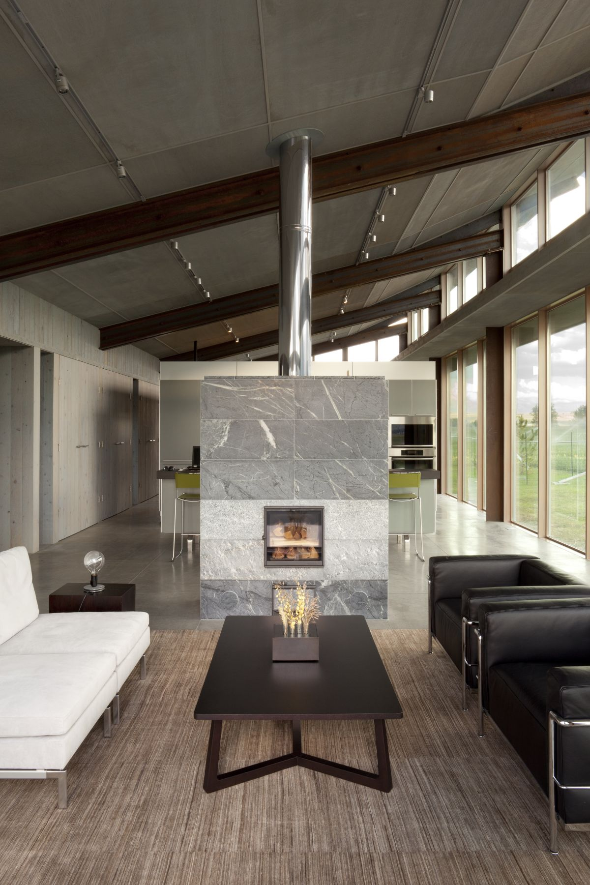 Coffee Table, Marble Fireplace, Wood Burner, Glass Farmhouse in Northeast Oregon