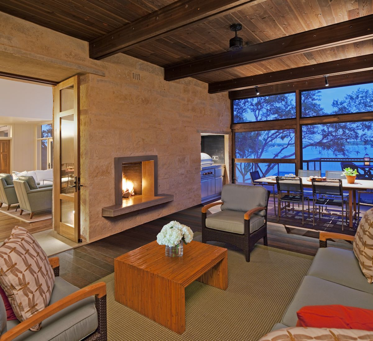 Contemporary Fireplace, Living, Dining Space, Weekend Retreat in Marble Falls, Texas