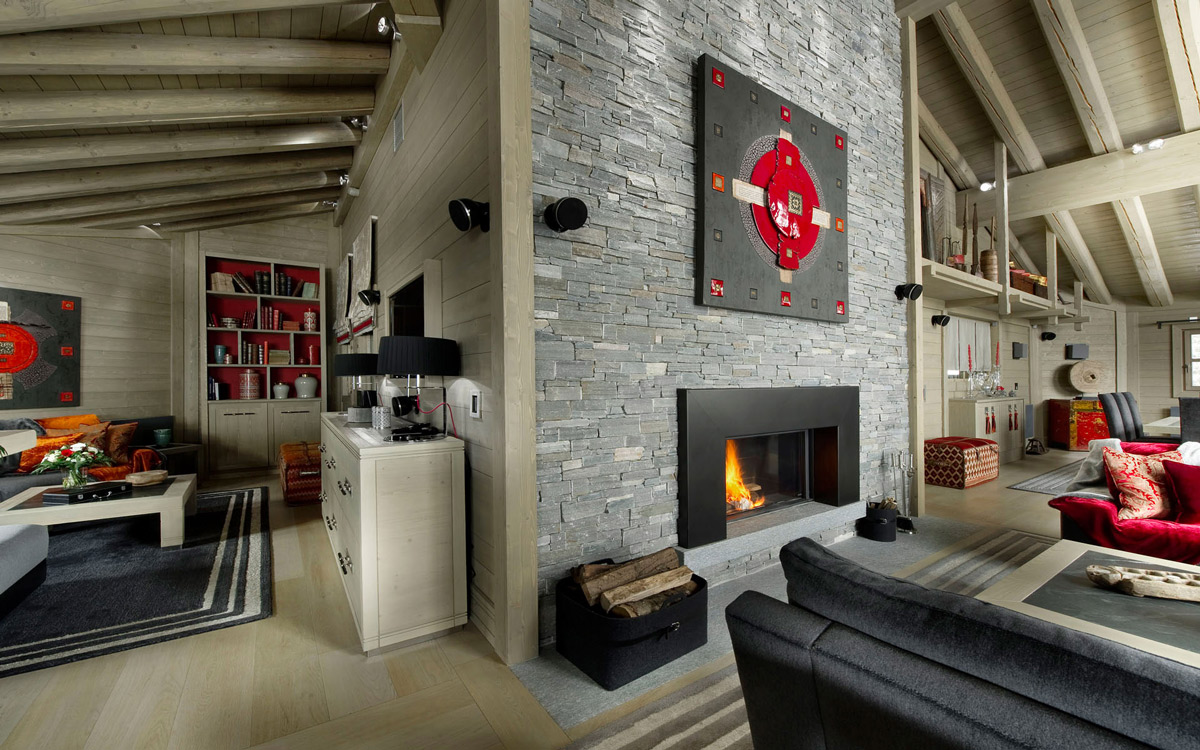 Contemporary Fireplace, Stone Tiled Wall, Art, Ski Chalet in Courchevel 1850, France