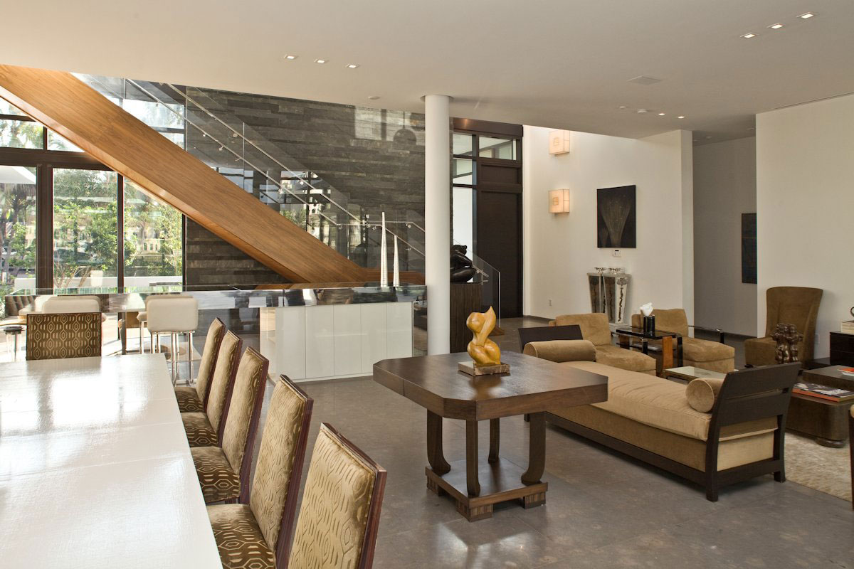 Dining Table, Living Space, Stairs, Modern Home in Golden Beach, Florida