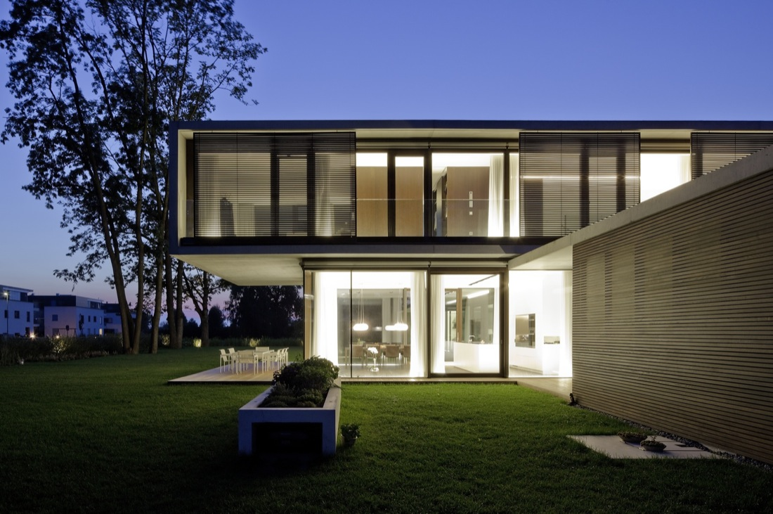 Dusk, Lighting, Cantilevered House in the Town of Hard, Austria