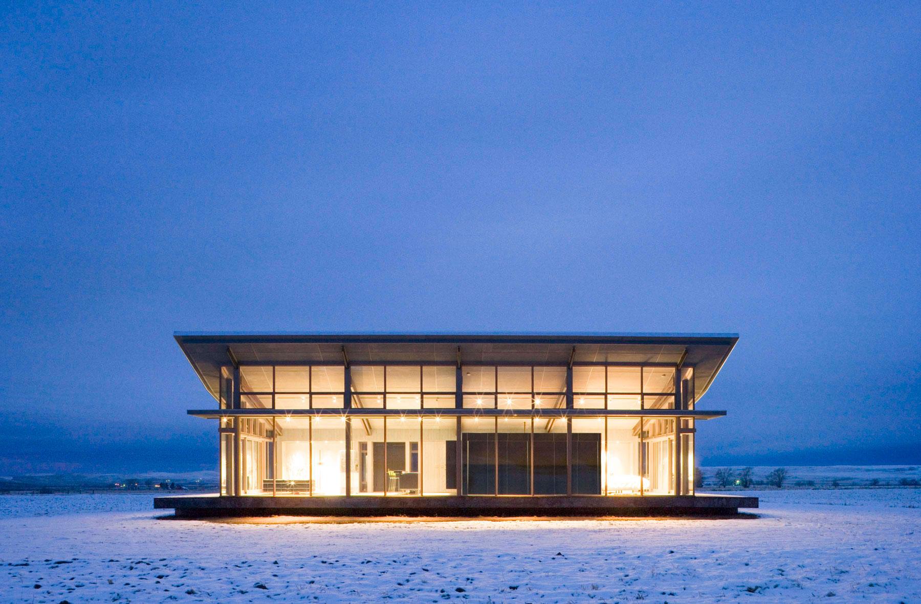 Dusk, Lighting, Snow, Glass Farmhouse in Northeast Oregon