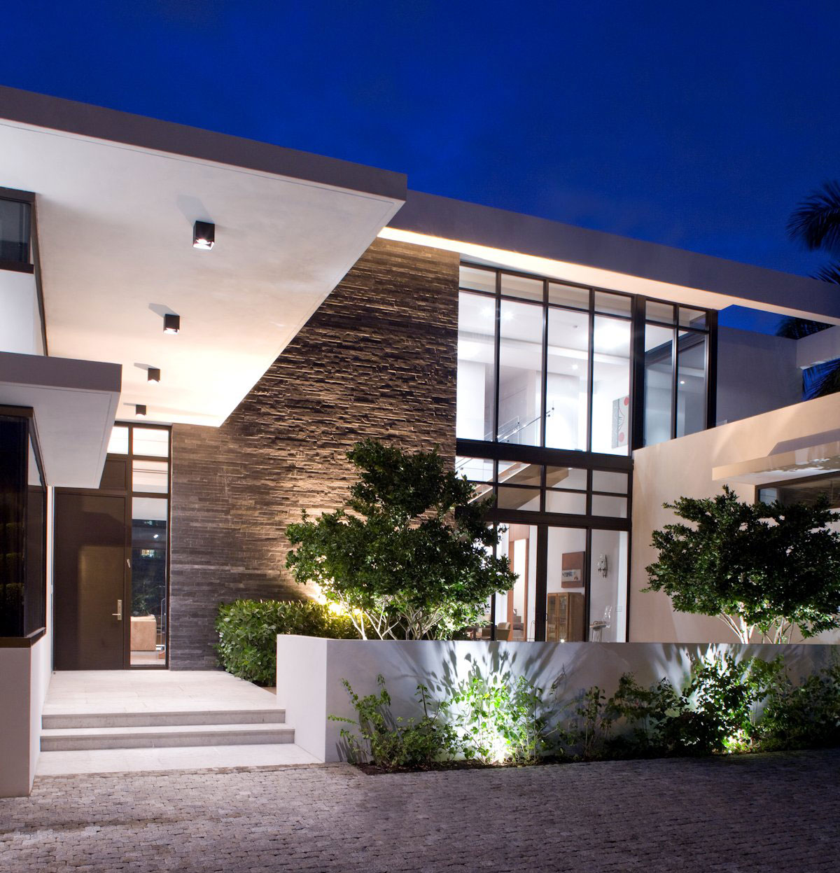 Entrance, Slate Tiles, Lighting, Modern Home in Golden Beach, Florida