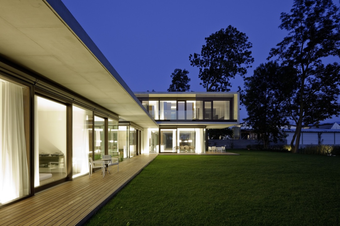 Evening, Deck, Lighting, Cantilevered House in the Town of Hard, Austria