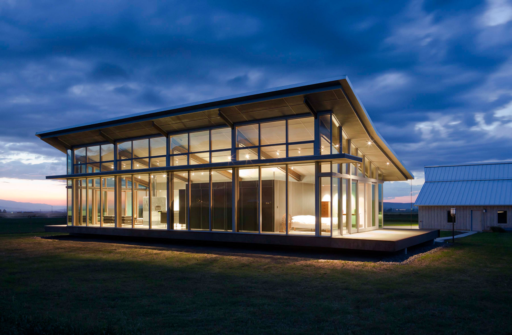 Evening, Lighting, Glass Walls, Glass Farmhouse in Northeast Oregon