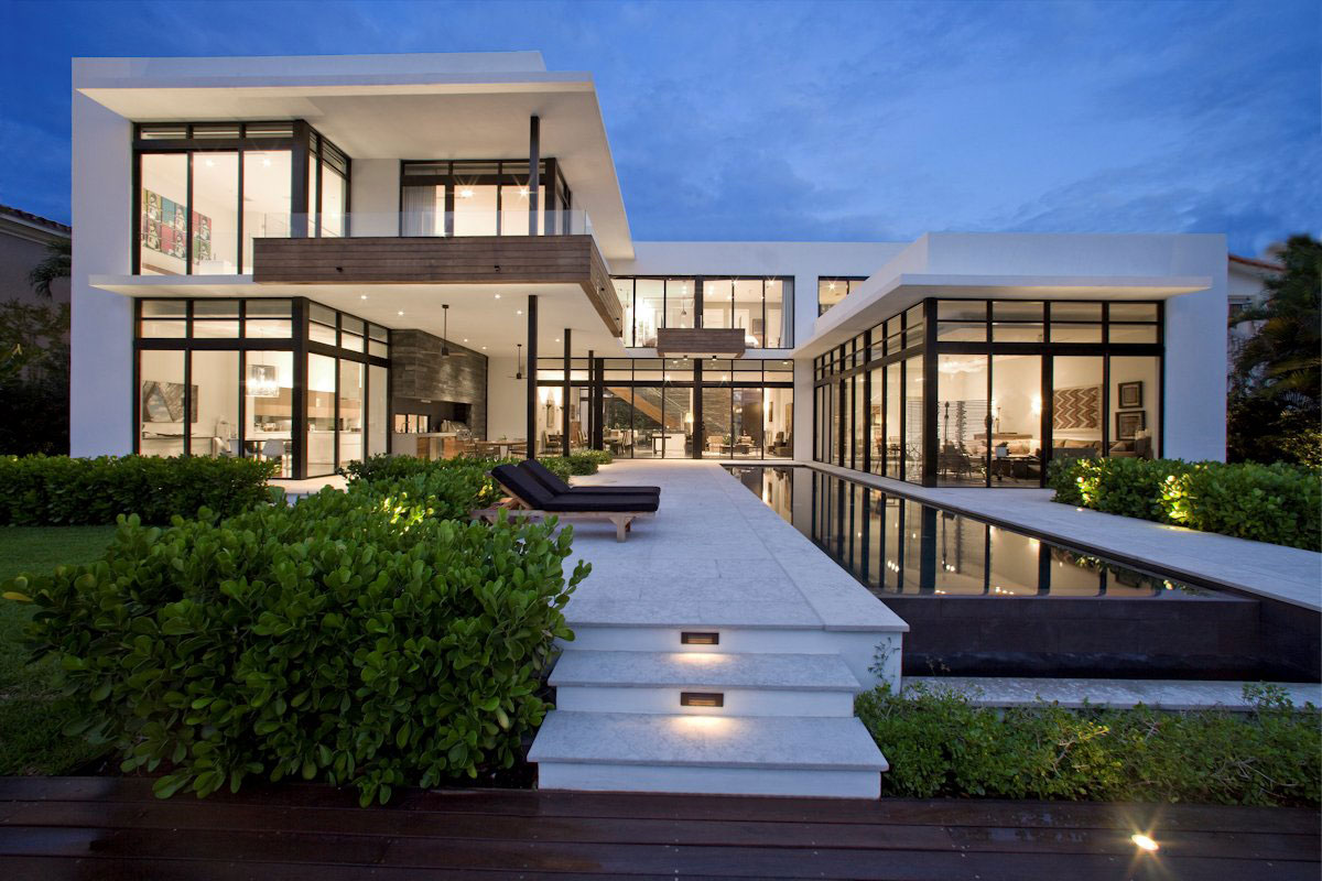Evening, Lighting, Modern Home in Golden Beach, Florida