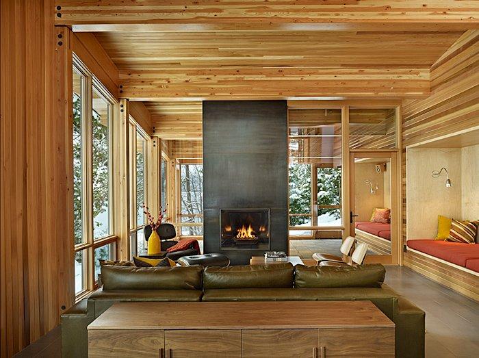 Fireplace, Sofa, Dining Space, Mountain Home Lake Wenatchee, Washington
