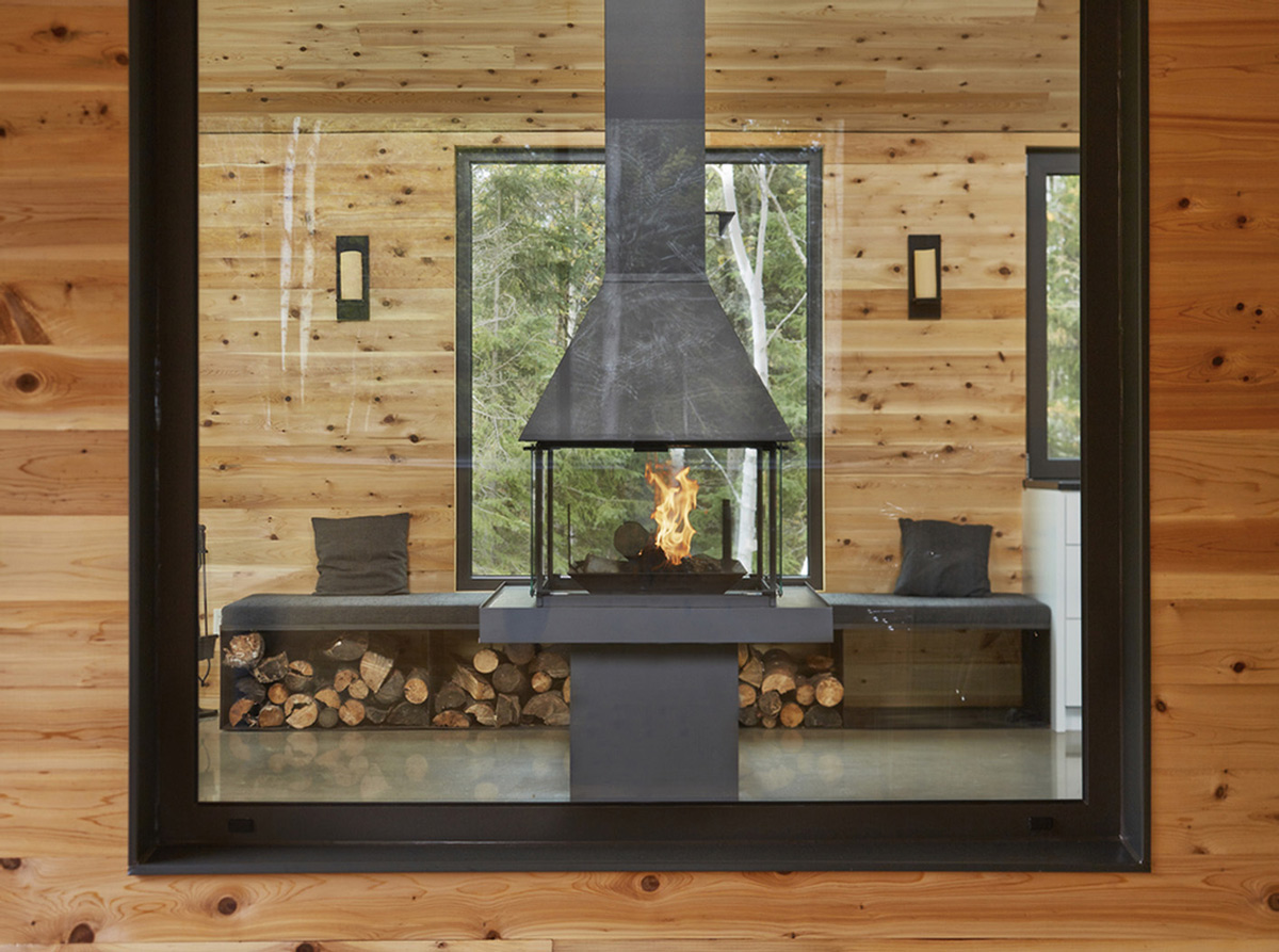 Fireplace, Wood Store, Malbaie VIII Residence in Charlevoix