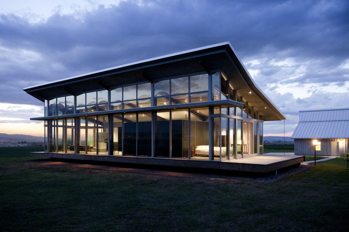 Floor-to-Ceiling Windows, Glass Farmhouse in Northeast Oregon