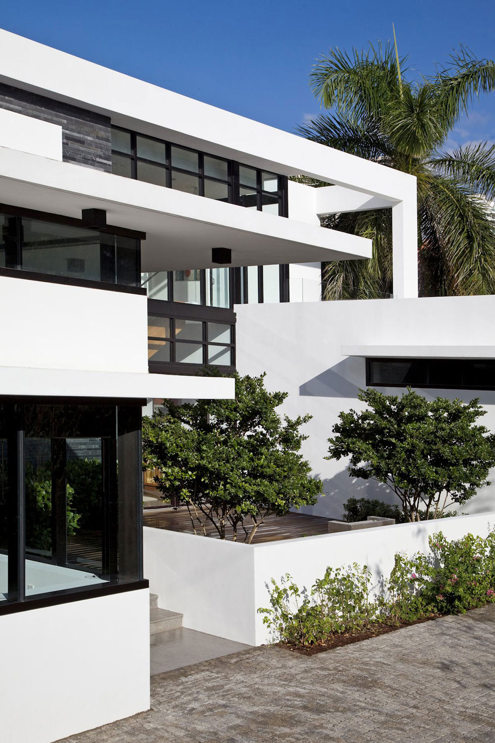 Front Facade, Modern Home in Golden Beach, Florida
