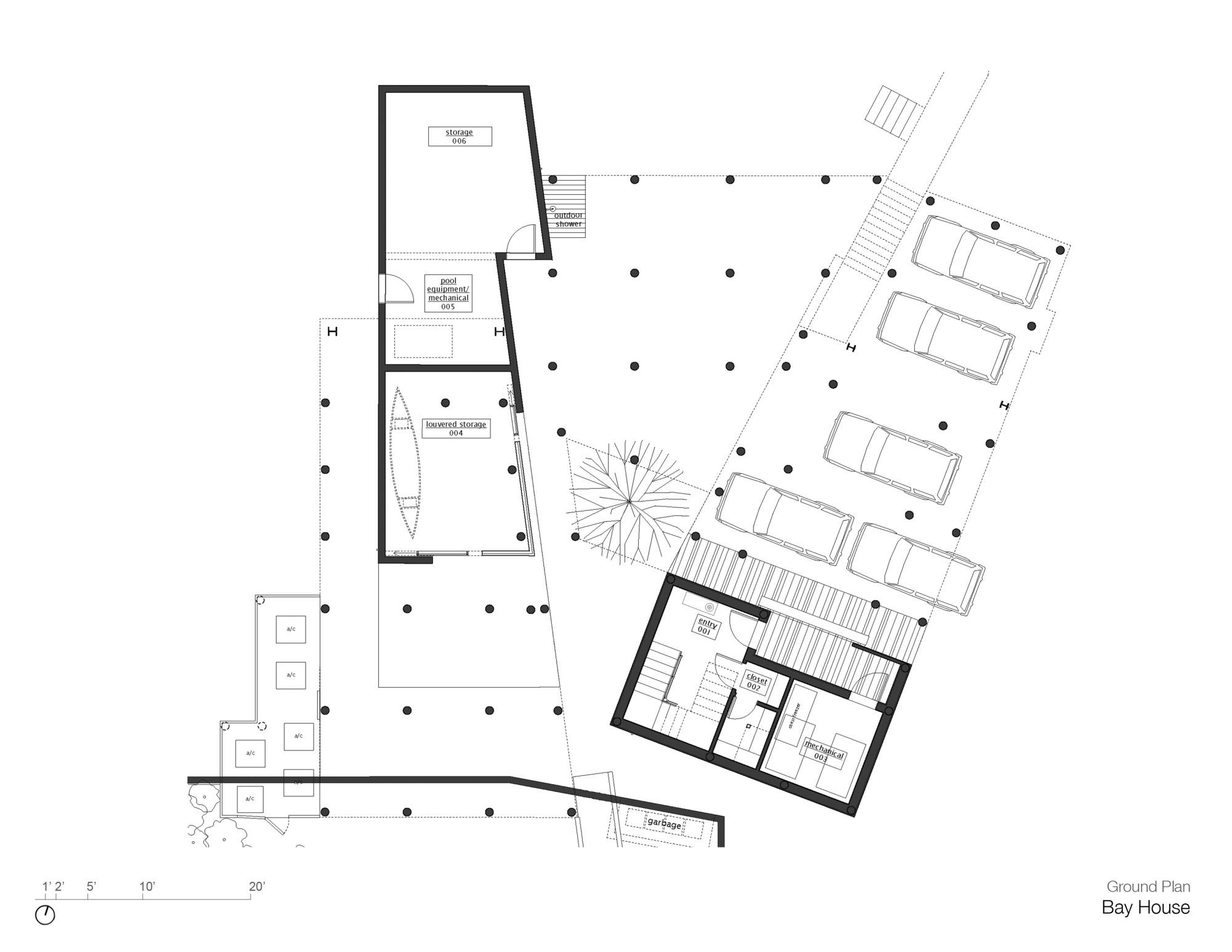 Ground Floor Plan, Bay House in Westhampton Beach, New York