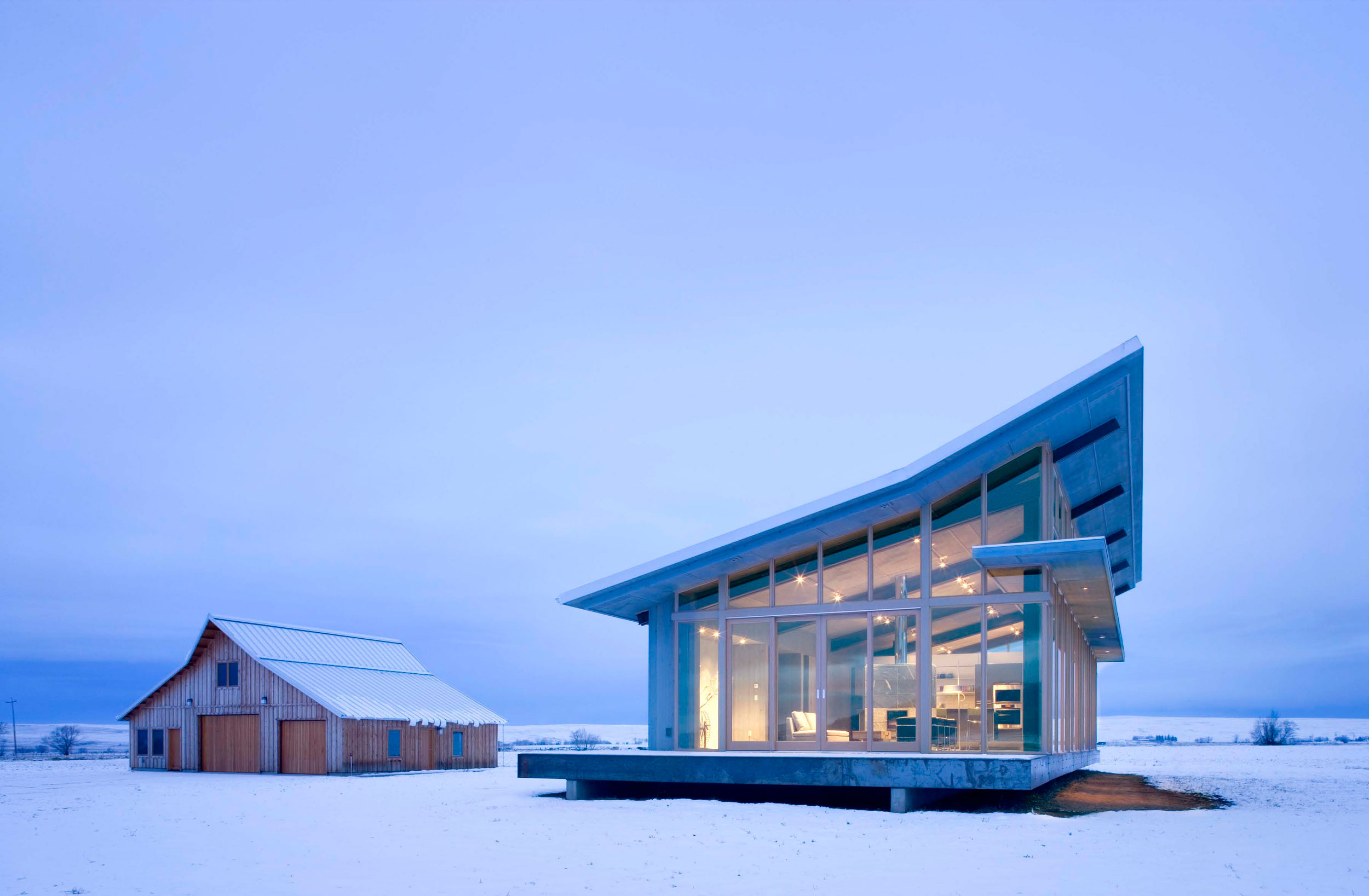 Lighting, Snow, Glass Farmhouse in Northeast Oregon