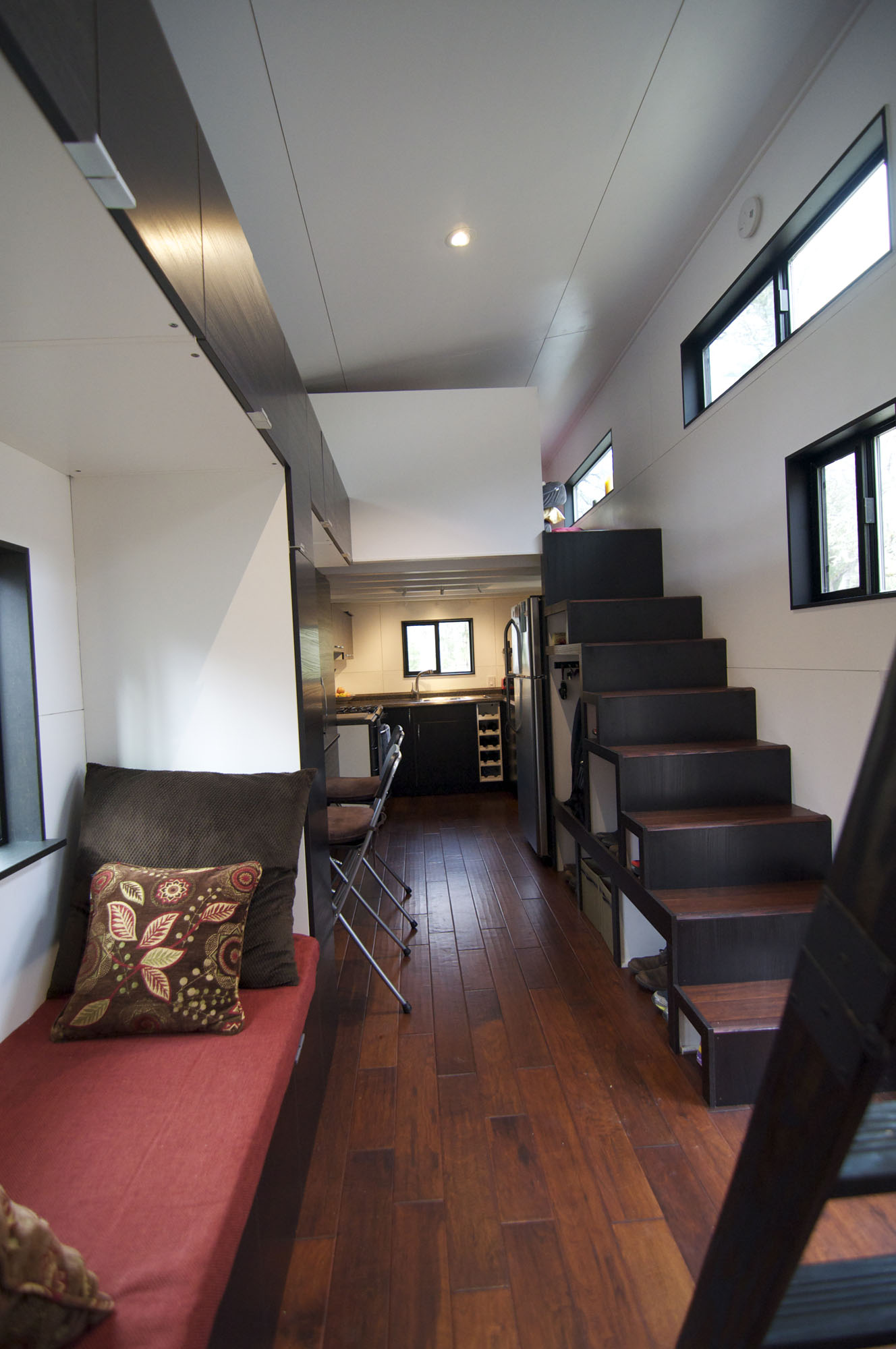 Living Space, Stairs, Tiny House on Wheels