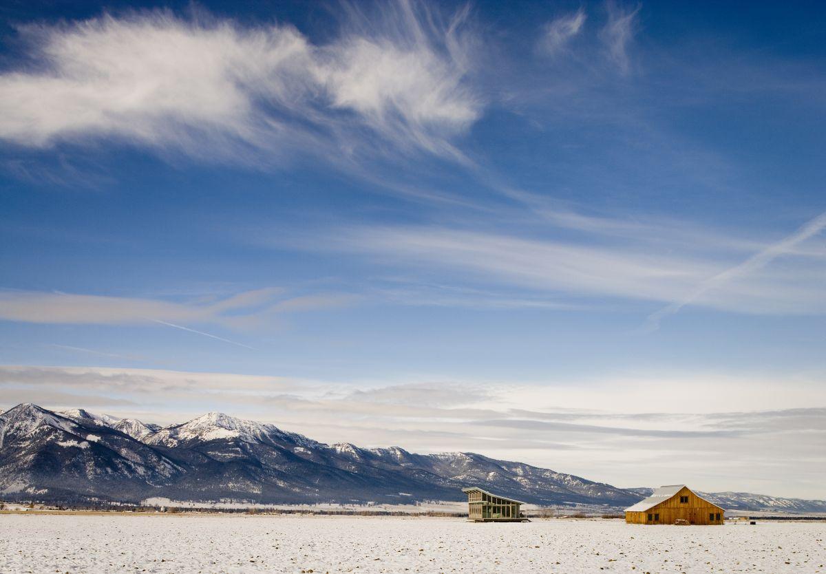 Mountain Views, Snowy Fields, Glass Farmhouse in Northeast Oregon