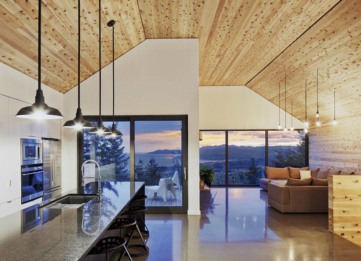 Open Plan Kitchen, Living Space, Breakfast Bar, Malbaie VIII Residence in Charlevoix