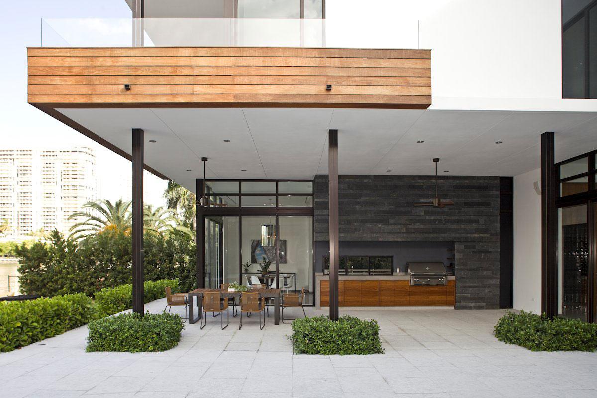 Outdoor Kitchen, Dining, Modern Home in Golden Beach, Florida