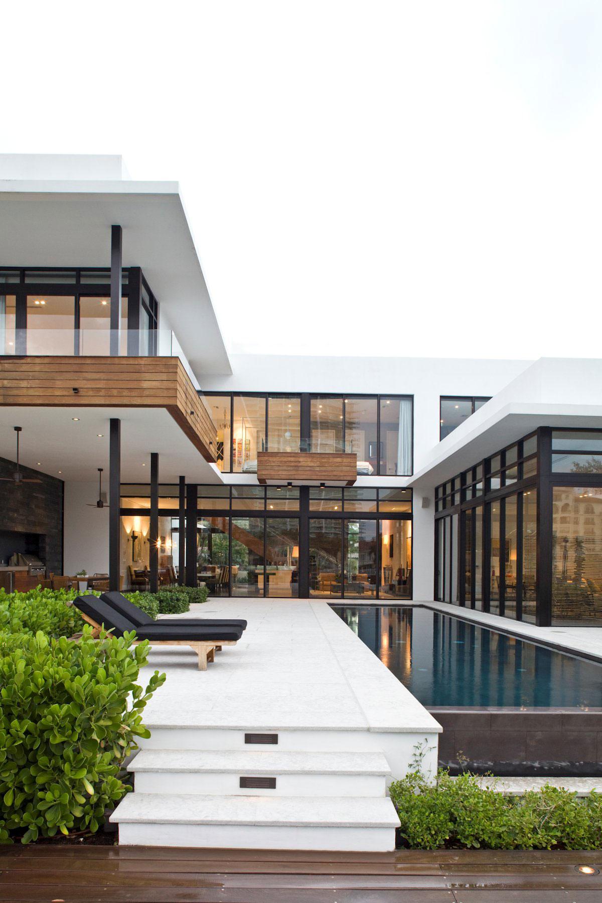 Outdoor Pool, Terrace, Modern Home in Golden Beach, Florida