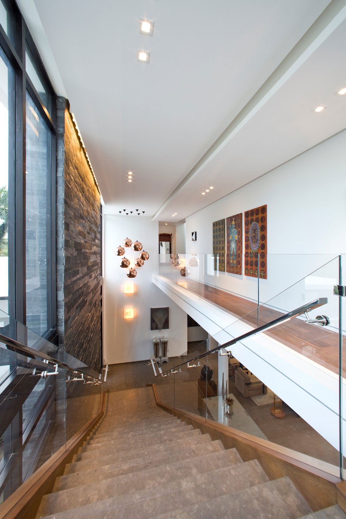 Pendant Lighting, Stairs, Modern Home in Golden Beach, Florida