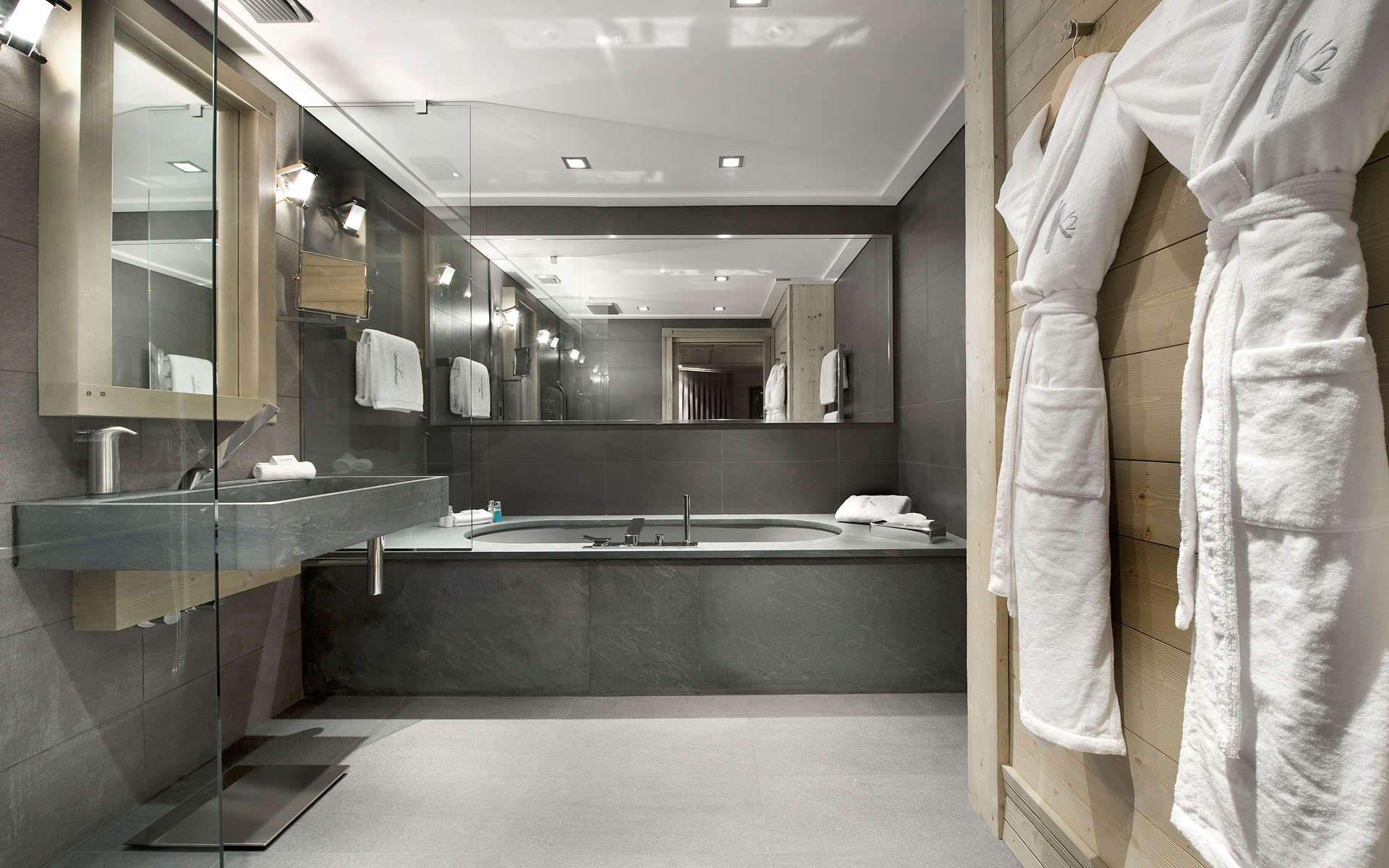 Slate, Marble & Glass Grey Bathroom, Ski Chalet in Courchevel 1850, France