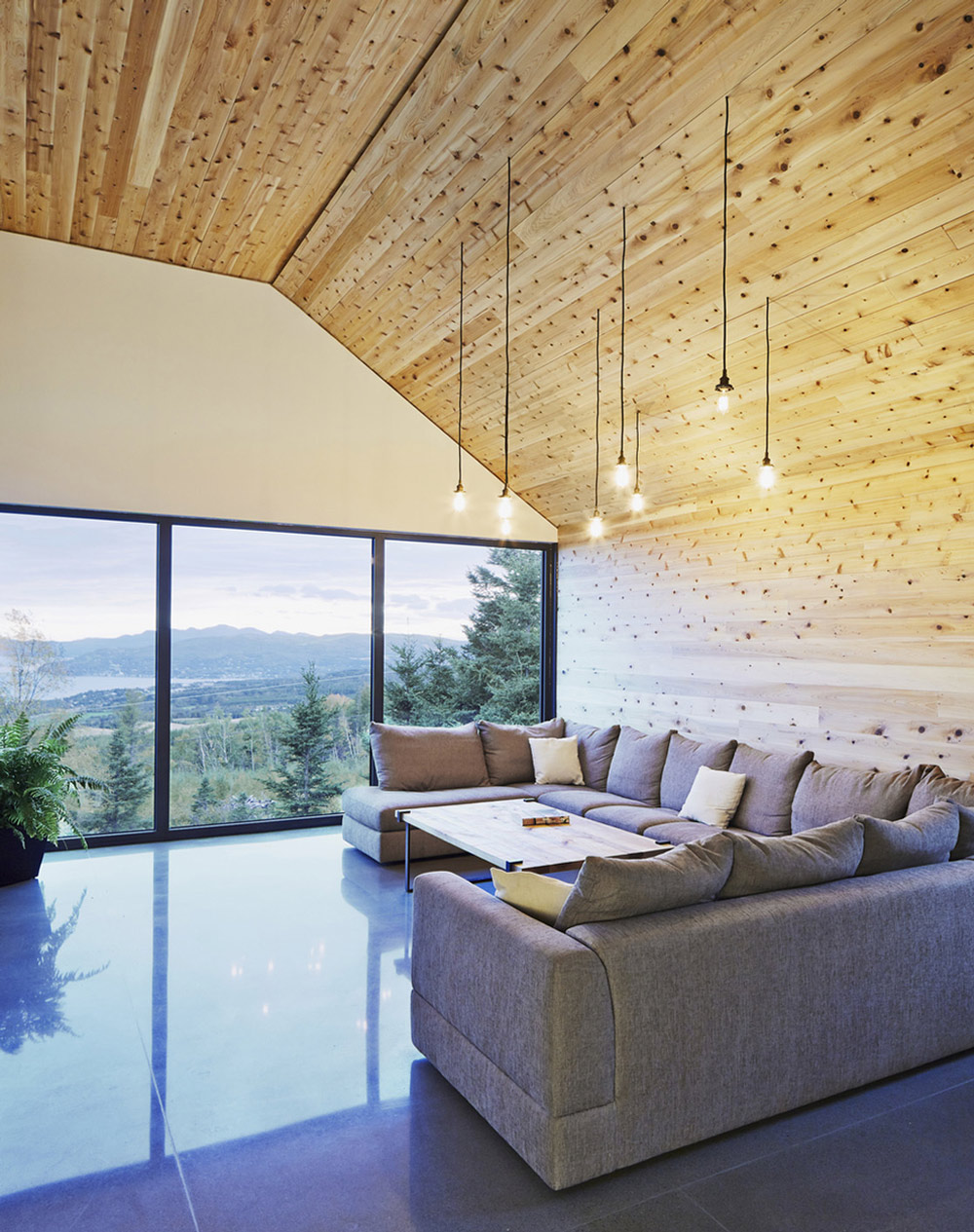 Sofa, Pendant Lighting, Large Windows, Malbaie VIII Residence in Charlevoix