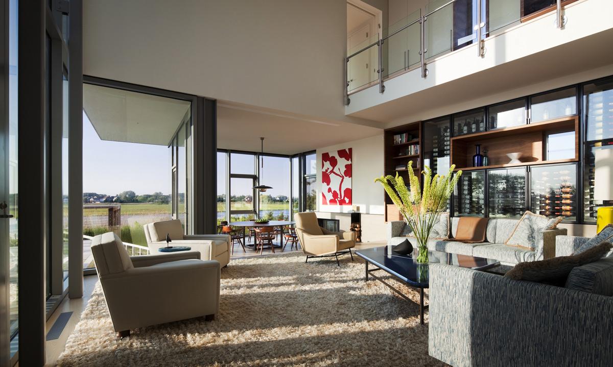 Sofas, Coffee Table, Rug, Wine Cabinet, Bay House in Westhampton Beach, New York